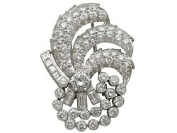 4.95ct Diamond and Platinum Brooch - Art Deco - Vintage Circa 1940