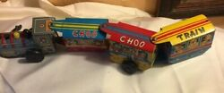 Antique Line Mar Toys Tin Japan Choo Choo Circus Wind Up Train Used Works Some