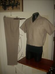 Menand039s Designer Tailored 1950and039s Style Beige Linen Casual Walking Suit W/shirt Jac