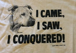 Large Vintage 80's American Pit Terrier Bulldog Shirt I Came I Saw I Conquered