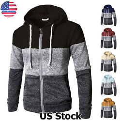 Mens Warm Hoodie Hooded Sweatshirt Zip Coat Jacket Winter Casual Sweater Outwear