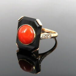 Antique 0.35ct Old Cut Diamond Onyx And Coral 18k Yellow Gold Ring