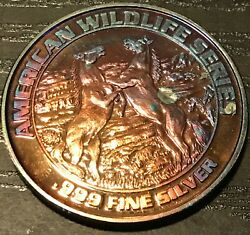 American Wildlife Series Pure Silver Unc Choice Monster Toned Color Bu Dr