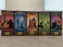 Disney Store Heroes And Villains Designer Collection Doll COMPLETE SET w Bags