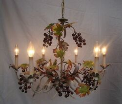 Vintage Mid-century 6 Light Tole Italy Grape Leaf Shabby Chic Chandelier