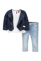 BNWT SEVEN FOR ALL MANKIND Baby girl Slouchy Jacket Tee & Skinny Jean 3pc 12mo