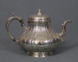 Victorian Large Silver Teapot By Martin Hall And Co Sheffield