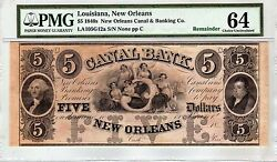 1840's Louisiana, New Orleans Canal 5 Five Dollar Remainder Note Pmg 64 Cu