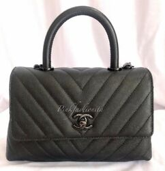 Auth Limited Chanel Small Coco Handle Chevron Caviar Quilted Flap Bag So Black