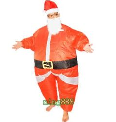 Inflatable Santa Claus Costume Adult Party Clothing Fancy Dress Christmas Outfit