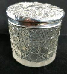 Beautiful Antique Cut Glass Pot Hall Marked Solid Silver Lid Height - 6 Cm