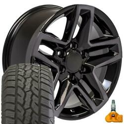 18 Tinted Machined Black Wheels, Tires And Tpms Fits Chevy Silverado Trail Boss
