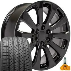 22x9 Black 5922 Rims, Bda Tires, Tpms Fit Chevrolet And Gmc 1500 High Country