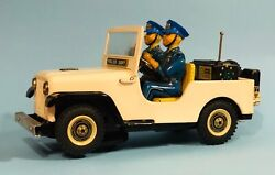 Vintage 1950s Tin Toy Litho Police Patrol Jeep Battery Operated Unbranded Rare
