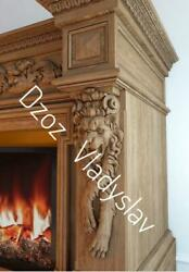 Carved Wood Pair Corbels - Lion Fireplace Surround Architectural Wood Carvings