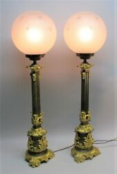 Impressive Pair Of 35 French Gilt Bronze Fluid Lamps Electrified C. 1850s