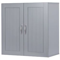 Dark Gray Wall Mount Storage Cabinet Laundry Kitchen Bathroom Shelf Unit 2 Door