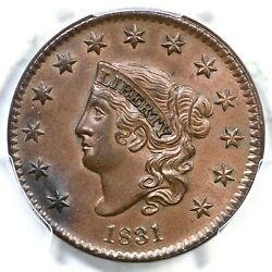 1831 N-7 Pcgs Ms 63 Bn Lg Letters Matron Or Coronet Head Large Cent Coin 1c