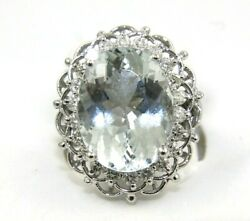 Oval Aquamarine And Diamond Halo Solitaire Ladyand039s Ring 14k White Gold 10.41ct