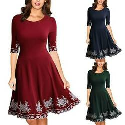 Women 34 Sleeve Swing Casual Plus Size Party Evening Skater A-line Mini Dress