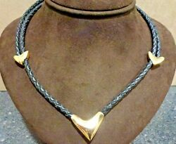 New J.r. De Bellard 18kt Yellow Gold And039heartand039 Necklace On Black Leather Cord
