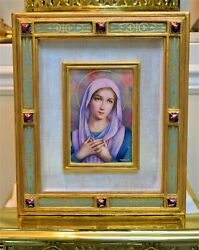 + Baked Enamel Image Of Mary 'our Lady Of Sorrows', Madonna Pl86 + Chalice Co.