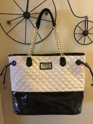 BETSEY JOHNSON Quilted Beige And Black Satchel Shoulder Bag $49.99