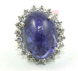 Oval Blue Cabochon Tanzanite And Diamond Solitaire Ring 14k White Gold 24.28ct