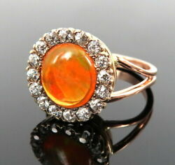 Vintage Fire Opal And 0.80ct Old Mine Cut Diamond 14k Rose Gold Halo Ring