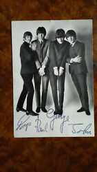 Beatles Original Postcard +printed Autographs +discography On Back Italy 1966