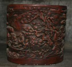 9 Chinese Antique Redwood Hand-carved Pine Tree Old Man Brush Pot Pencil Vase
