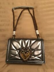 New1700 Dolce And Gabbana Medium Devotion Bag Quilted Metallic Silver