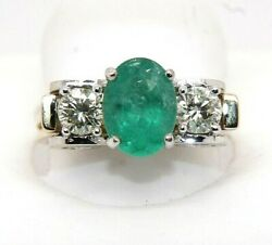 Oval Emerald And Diamond Halo Solitaire Lady's Ring 14k Yellow Gold 2.81ct