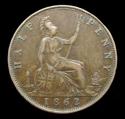 Victoria 1862 Bronze Halfpenny - Die Letter B - Extremely Rare