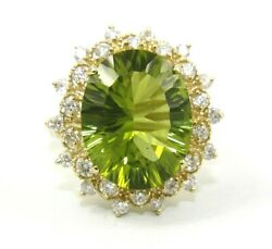 Oval Green Peridot And Diamond Halo Solitaire Ring 14k Yellow Gold 8.35ct