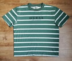 Vintage Guess Striped Los Angeles T-shirt Green White Sz Small Menand039s Distressed