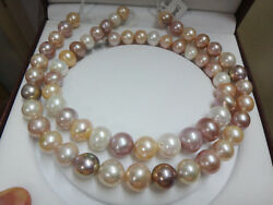 Huge 3612-16mm South Sea Genuine White Gold Pink Purple Round Pearl Necklace