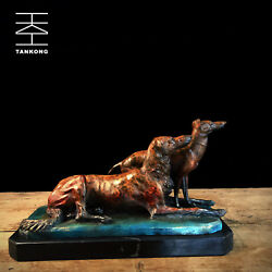 Art Deco Sculpture Two Hound Dog Watching Outside Bronze Statue