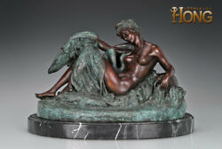 17and039and039 Art Deco Sculpture Nude Woman Swan Painted Statue
