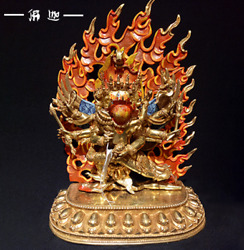 16and039and039 Tibet Collectibles Religion Hayagriva Buddha Bronze Cloisonne Gilt Statue