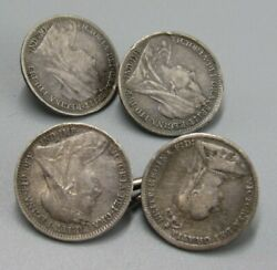 Mens Vintage Victorian 4 Sided Coin Art Cufflinks Costume Jewelry V81