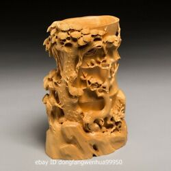 China Boxwood Hand Carved Emboss Pine Tree Brush Pots Pen Container