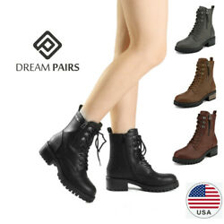 DREAM PAIRS Women Chelsea Ankle Boots Lace Up Zipper Military Combat Boots $19.99