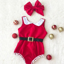 US Christmas Baby Girl Clothes Tassel Romper Jumpsuit Headband Xmas Party Outfit