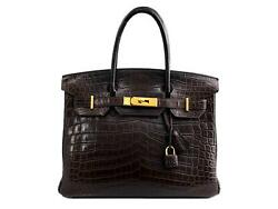 Hermes 2008 Matte Porosus Crocodile Birkin 30 Chocolate Brown Gold Plated Bag