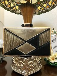 INC Womens Sholla Gold Colorblock Clutch Handbag Evening Wedding Purse Small NEW $14.99
