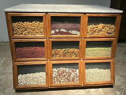 4 Ft C Oak Seed Cabinet W/granite Top. Country/general Store, Kitchen Island