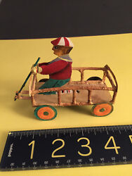 Vintage Folk Art Hand Painted Metaltoy Little Boy With Play Cart- Reproduction