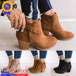 Women's Chunky Booties Block Mid Heels Ankle Boots Chelsea Zip Casual Shoes Size