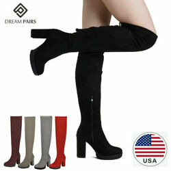 DREAM PAIRS Women#x27;s Fashion Over The Knee Chunky High Heel Thigh High Boots $30.59
